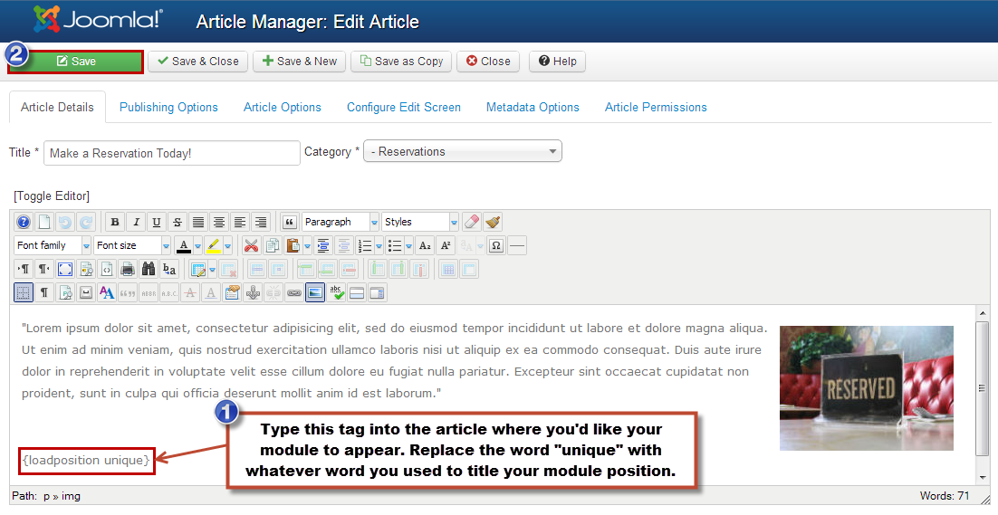 insert html page into joomla article