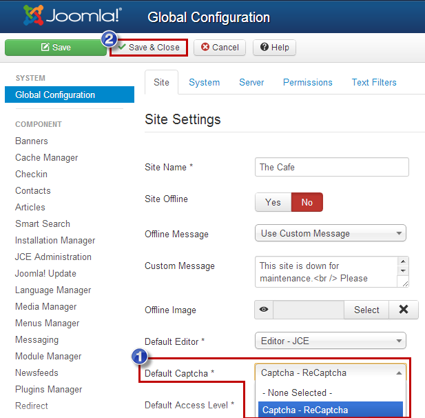 Enabling Captcha (Joomla 3)