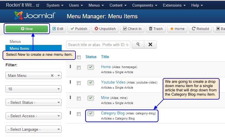 Joomla 2. 5 drop down menu tutorial.