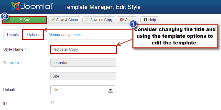 Duplicating a Template (Joomla 3)