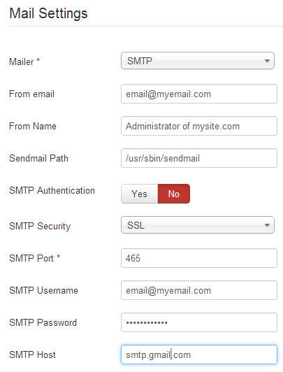 SMTP Mail Settings (Joomla 3)
