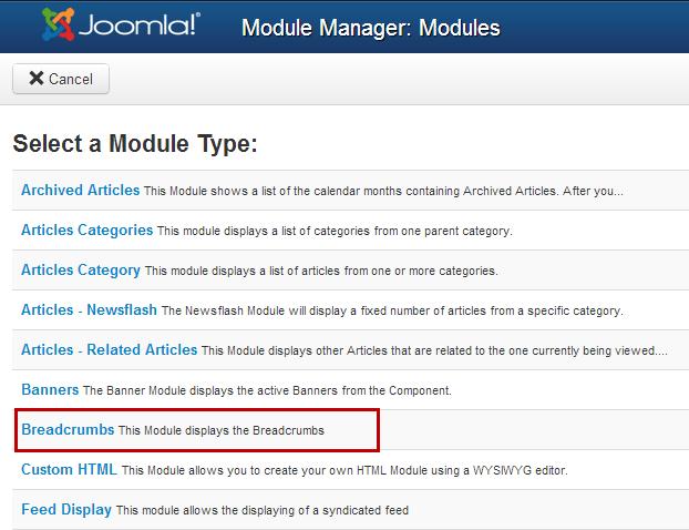 Breadcrumbs Module (Joomla 3.0)
