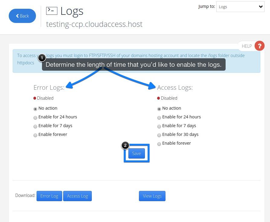 Accessing Error & Access Logs