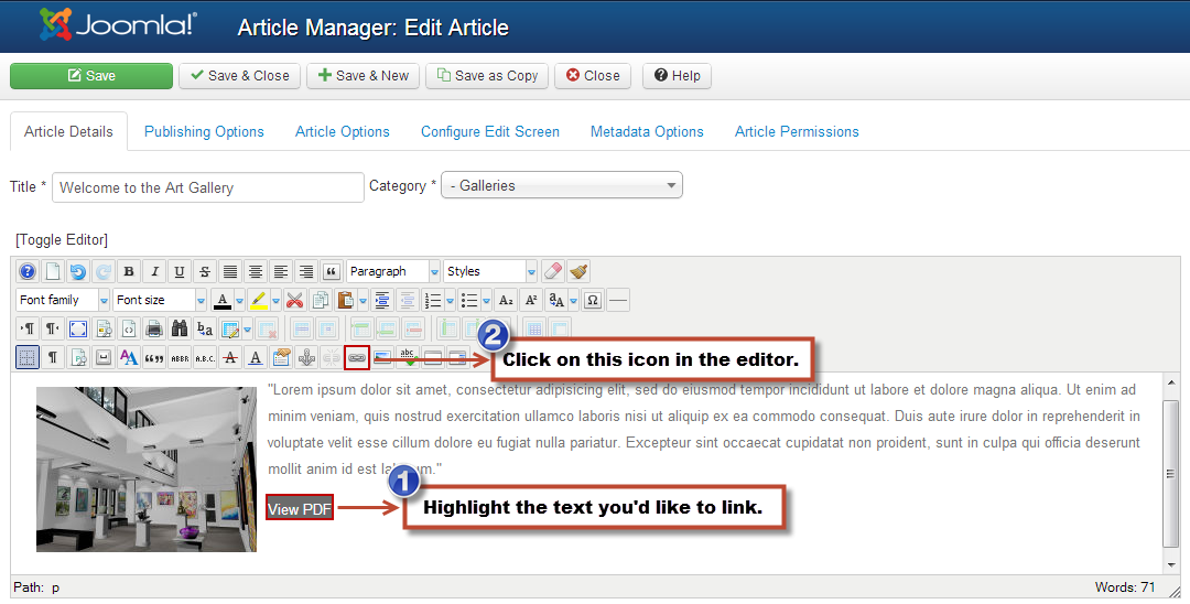 How to link pdf files in joomla