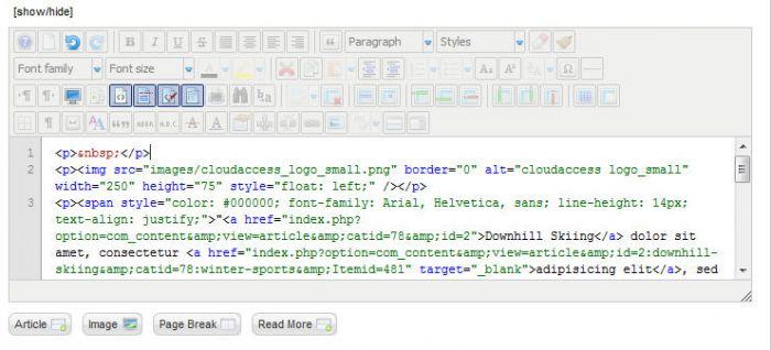 JCE Embedding HTML Code Into An Article