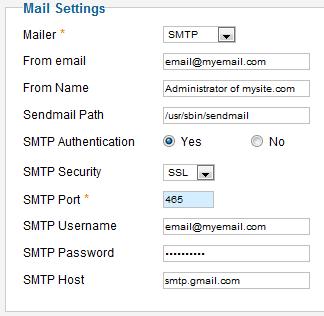 SMTP Mail Settings (Joomla 2 5)